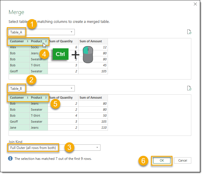 Combine-Queries-A-and-B-with-Merge-Step-2 How To Compare Two Tables Using Get & Transform