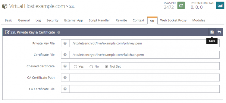 Let's Encrypt SSL Key and Certificate