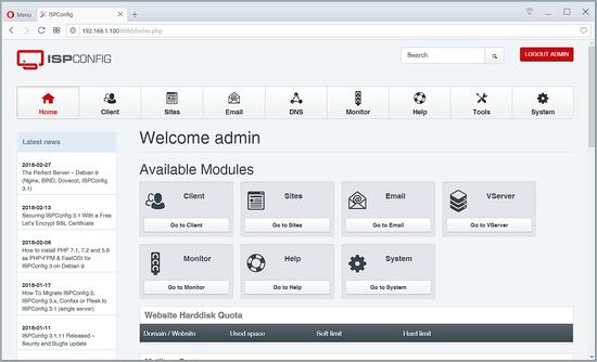 ISPConfig dashboard