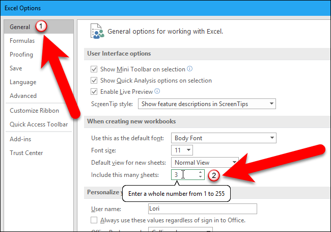 How To Change The Default Number Of Worksheets In A New