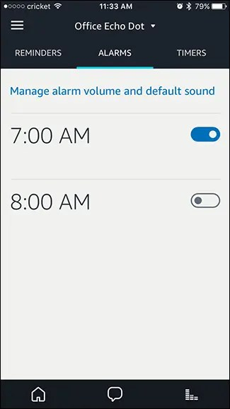 manage alarm volume and sound