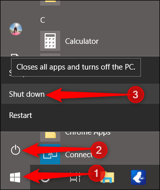 Click Start, then power button, then hold down Shift while clicking Shut Down