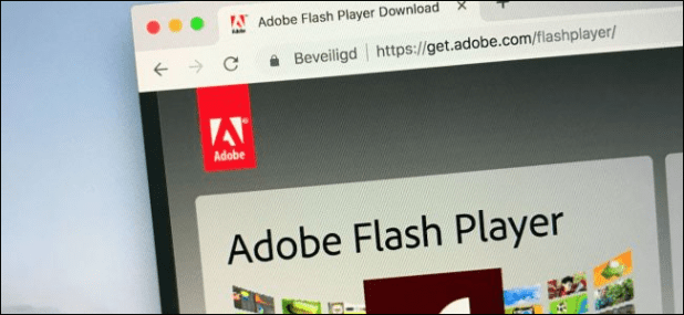 Adobe Flash Player website on computer