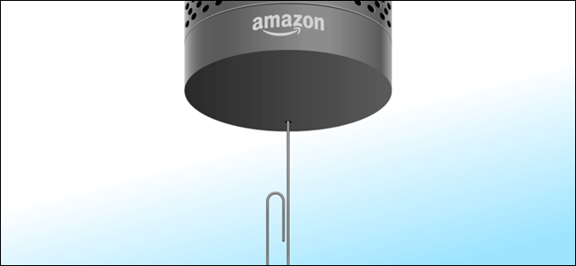 Amazon Echo with paperclip pushed into reset hole