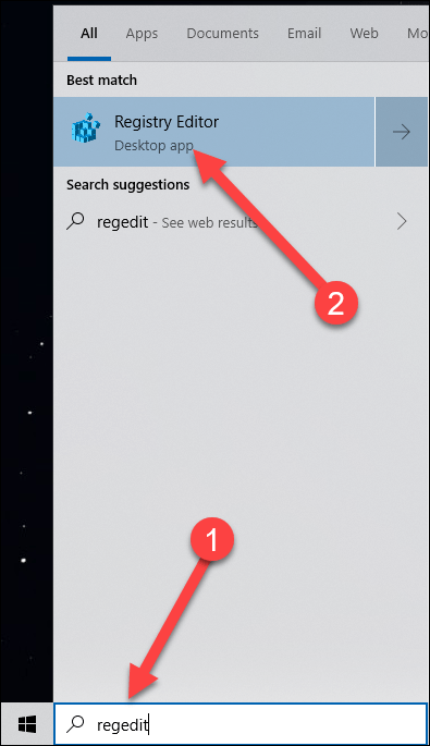 Start Menu Search with arrows pointing to regedit search and registry editor result.