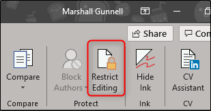 restrict editing in protect section