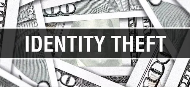 """The words """"Identity Theft"""" over $100 bills."""