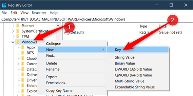 Right-click the Windows key, then select New > Key and name it System