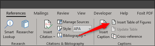 Insert table of figures option in reference tab