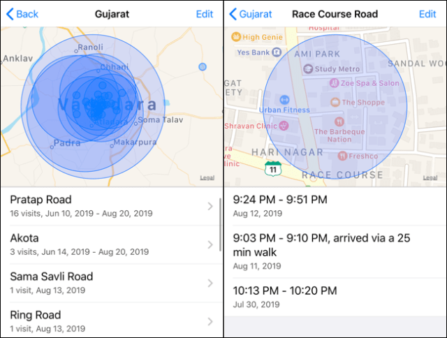 Tap on a location collection to view details