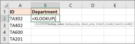 Information required by the XLOOKUP function in Excel