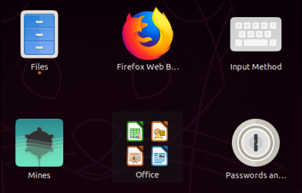 LibreOffice icons grouped together in the application overview