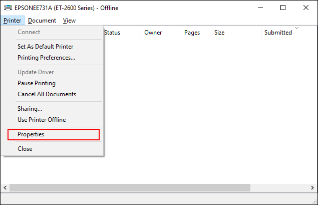 Click Printer > Properties in the print queue for your printer