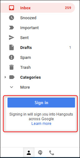 The Google Hangouts section in the Gmail sidebar.