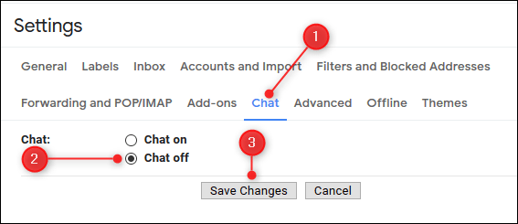 """Click or tap """"Chat,"""" select the""""Chat Off"""" option, and then click or tap """"Save Changes."""""""
