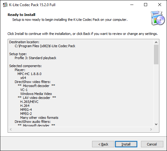 Click Install to begin the K-Lite Codec Pack installation