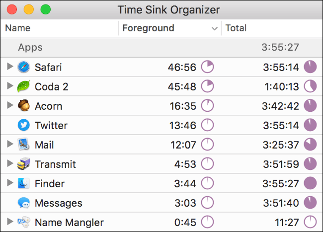 """Time Sink Organizer"" stats in the Time Sink app."