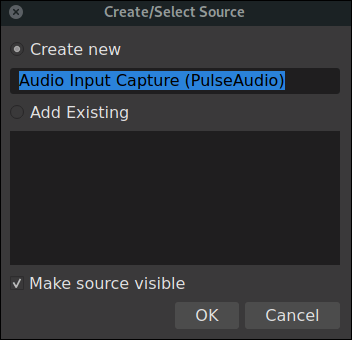 OBS create and select source dialog for a microphone