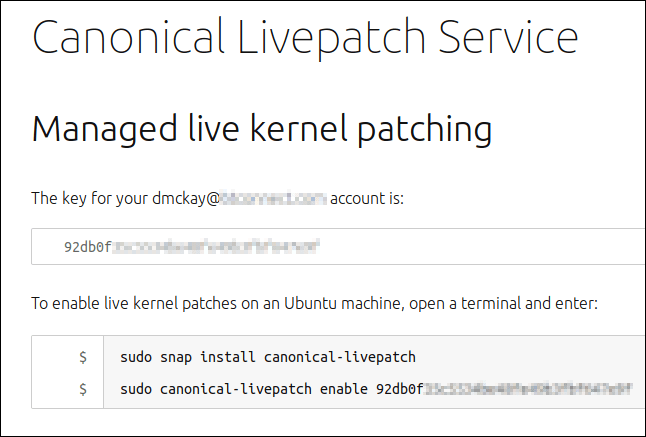 Managed live kernel patching web page