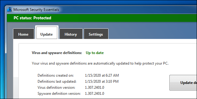 Microsoft Security Essentials continues to receive definition updates in Windows 7.