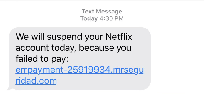 Netflix scam text message