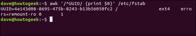 "The ""awk '/^UUID/ {print $0}' /etc/fstab"" command in a terminal window."