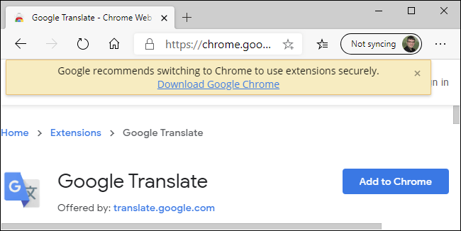The Chrome Web Store's warning about Edge