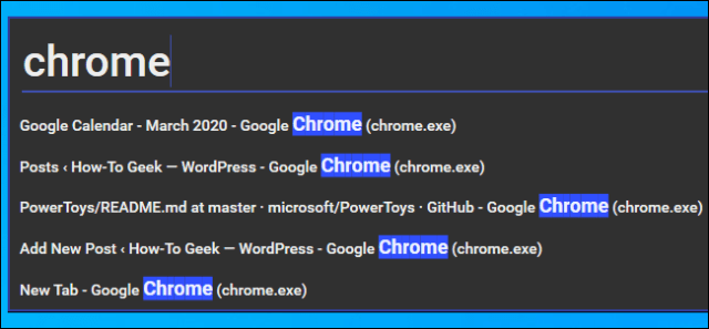Searching for a Chrome browser window in the Window Walker PowerToy