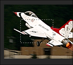 An image in Photoshop, with parts of the image selected using the Marquee tool