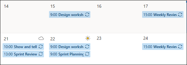 Calendar appointments in the default blue color.