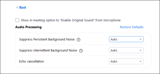 Zoom's background noise options in its Settings window.