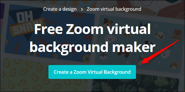 """Click """"Create a Zoom Virtual Background"""" on the Canva website."""
