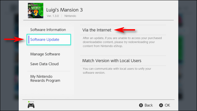 Select Update Via the Internet on Nintendo Switch
