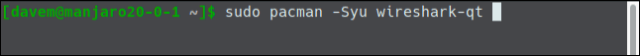 sudo pacman -Syu wireshark-qt in a terminal window.