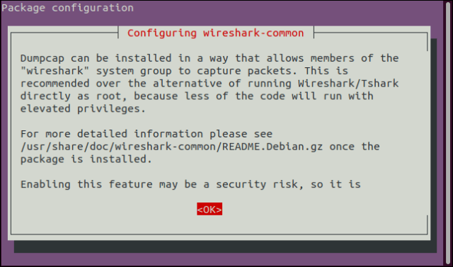 Installation screen recommending not to run Wireshark as root.