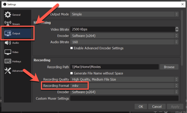"""To change the OBS recording format, press Settings > Output, then select another file format under the """"Recording Format"""" section"""