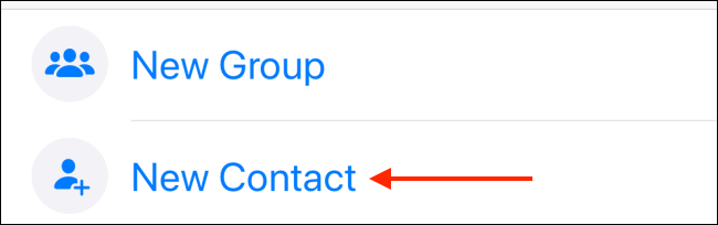 Tap New Contact in WhatsApp on iPhone