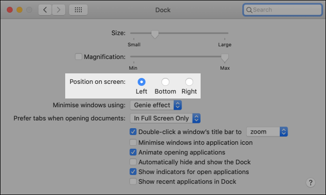 """The """"Position on Screen"""" setting in the """"Dock"""" menu on macOS."""