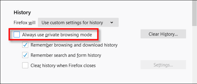 Check always use private browsing mode in Firefox