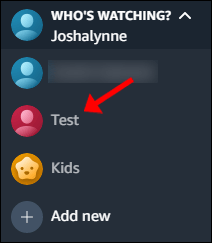 Click the new account to switch to it.