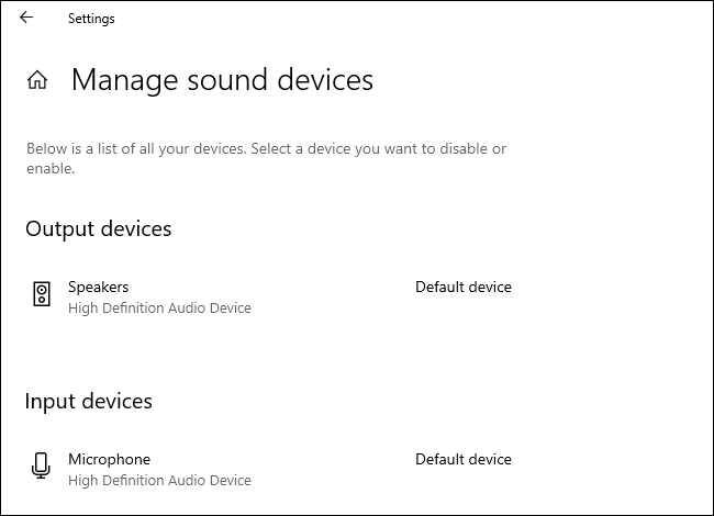 Managing default sound devices in Windows 10's Settings app.
