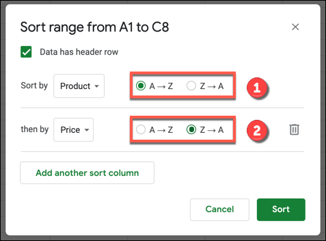 """In the Google Sheets sorting options box, select """"A-Z"""" for ascending order or """"Z-A"""" for descending order."""