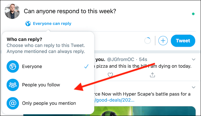 "Choose ""People You Follow"" or ""Only People You Mention"" from the drop-down menu"