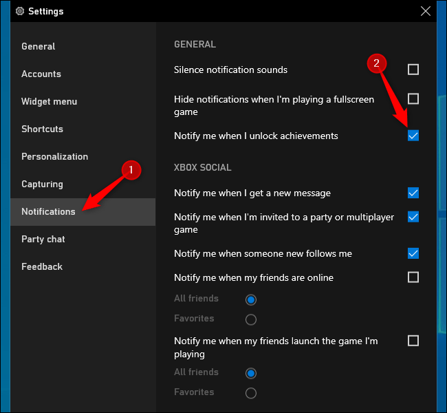 Disabling Xbox achievement notifications on Windows 10.
