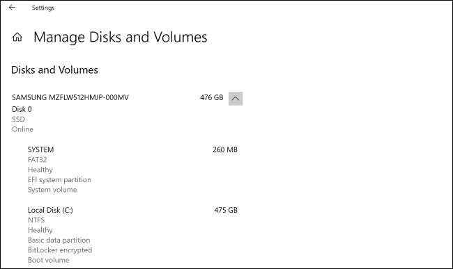"""The """"Manage Disks and Volumes"""" screen in Windows 10's Settings app."""