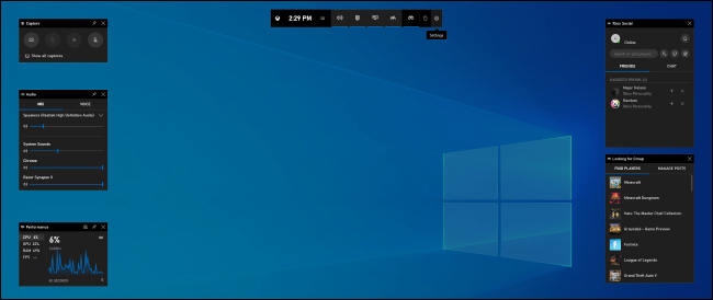The Game Bar overlay on Windows 10.