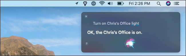 Turning on a Hue light with Siri on a Mac.
