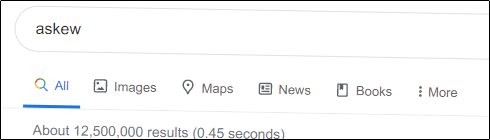 """""""askew"""" tilted slightly on the Google search results page."""