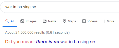 "The ""war in ba sing se"" search results in Google."