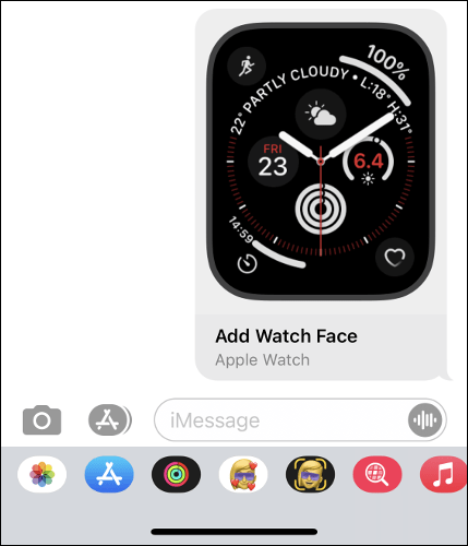 Sharing an Apple Watch Face in the iPhone's Messages App